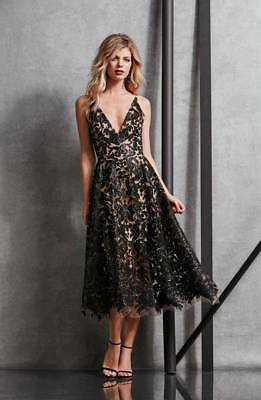 NEW DRESS the POPULATION Black Nude Sequin Stretch Lace Blair Fit Flare Midi S