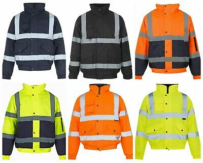 Mens HI Vis Bomber Jacket Security Safety Workplace Waterproof Size: S to 4XL
