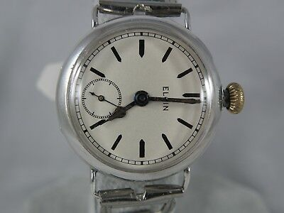 1900`s ELGIN WIRE LUG MEN`S WATCH....EXTREMELY HANDSOME REFURBISHED   DIAL