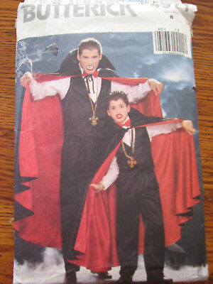Butterick Sewing Pattern 4971 Childs Costume Vampire Size SM=Size 7 CUT