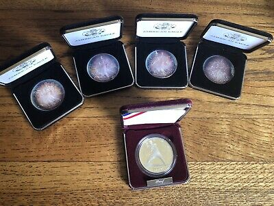 1998 American Silver Eagle (4) Toning 1992 Liberty Proof (1)