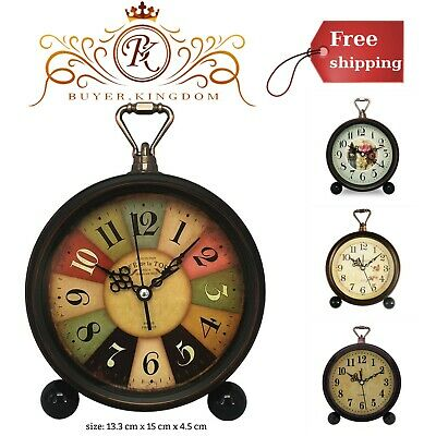 Retro Desk Clock With Non-Ticking And Vintage Design And 13.3cm X 1cm X 4.5 cm