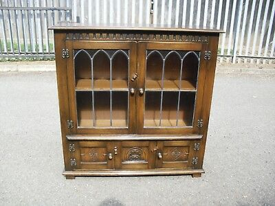 Wonderful Antiqued Oak Bevan & Funnell Lowline Bookcase Hall Cabinet