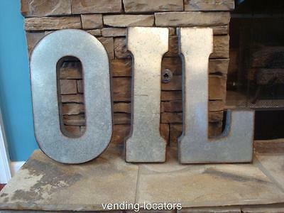 """OIL SIGN 42"""" x 20"""" Industrial Rustic Block Letters Recycled Galvanized Gas NEW"""
