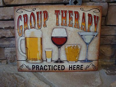 Group Therapy Practiced Here TIN SIGN metal decor funny bar beer wine whiskey