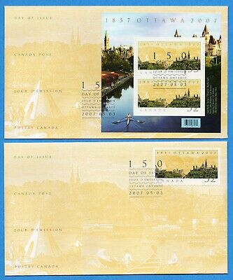 Set of Two 2007 Canada FDC First Day Cover #2213/4 - Ottawa's 150 Years