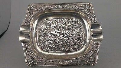 Heavy solid silver ashtray with intricate design continental 800 silver
