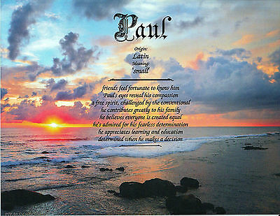 """Coastal Sunset 2"" Name Meaning Prints Personalized (Inspirational)"