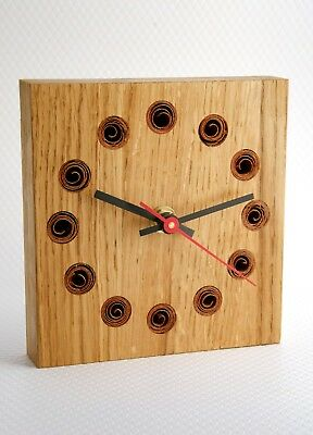 Wooden Mantle Clock Solid Oak with dark wood inlay. Decorative clock. Handmade