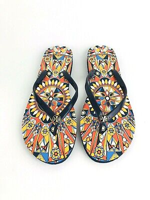 39d059b54 tory burch flip flop sandals womens size 10 navy psychedelic geo brand new!