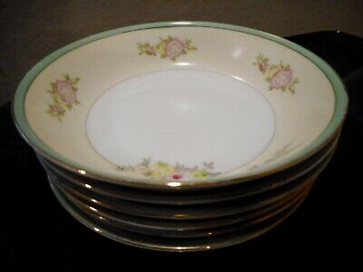 Vintage Nsp Handpainted China Six Berry/fruit Bowls, Made In Japan