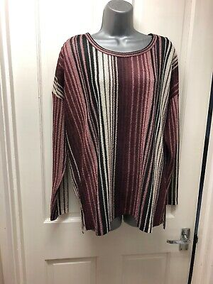 Next Top Size 16 Pink Purple Striped Tunic Long Sleeve