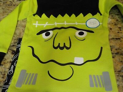 Carters Boys Glow in the Dark Frankenstein Halloween Pajamas Size 18 months