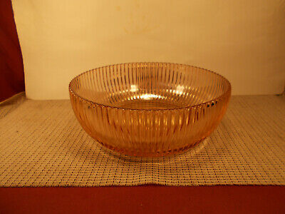"""Anchor Hocking Depression Glass Queen Mary Pink Pattern Round Bowl 8 3/4"""""""