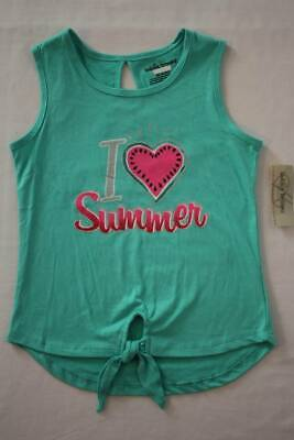 NEW Girls T-Shirt Size 6 Squinkies Toys Gray Graphic Top Front Tie Love Friends