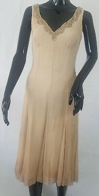 ELIE TAHARI Sheath Dress Size 4 Brown 100% Silk Beaded Sleeveless V Neckline