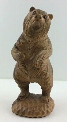Rare Vintage Hand Carved Very Detailed Wooden Black Forest Style Bear Statue
