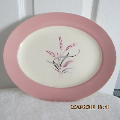 Vintage Homer Laughlin 12'' X 9'' Serving Plates Pink Wheat A56N6 Style  1950S