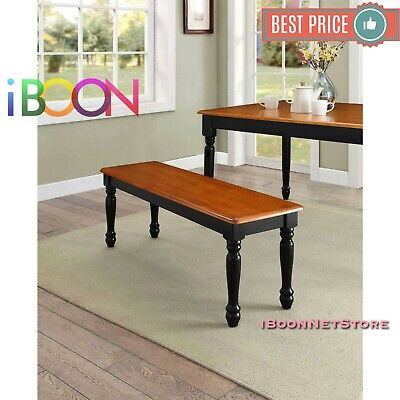 Wood Dinning Table Bench Seat Home Furniture Dining Room Black Oak Color Seat