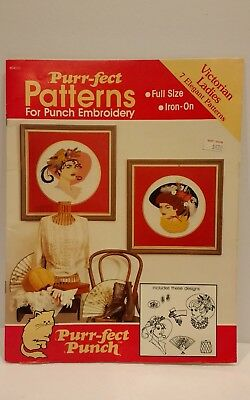 Vintage 1989 Victorian Ladies Punch Patterns by Purr-fect Punch Iron on Plaid