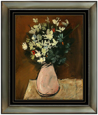 Charles Levier Original Oil Painting On Board Floral Still Life Signed Artwork