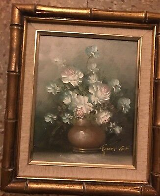 Robert Cox Floral Style Life Oil Painting on Board  Signed Bamboo wood Frame