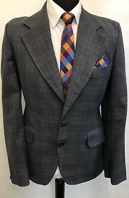 Ms3241 Hardy Amies At Hepworth Men's Checked Grey Wide Lapel Blazer  Size  38 Uk