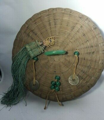 ANTIQUE CHINESE SEWING BASKET ~ with Jade