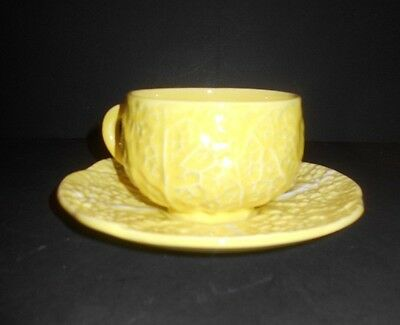 Vintage Yellow Cabbage Leaf tea cup & saucer Secla Portugal Faience Majolica