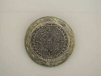 Large Sterling Silver Mexican Aztec Mayan Calendar pendant brooch pin
