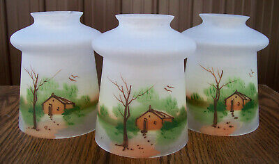 3 Lovely ART DECO HAND PAINTED GLASS Light SHADES Cabin Scene vtg antique NICE