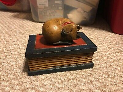 Vintage Hand Carved Wooden Cat Sleeping on Book Figurine Carving Folk Art