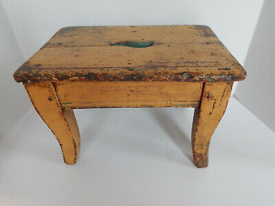 Remarkable Antique Original Mustard Paint Step Stool With Hand Made Dailytribune Chair Design For Home Dailytribuneorg