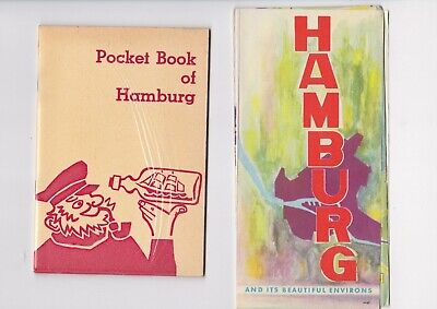 Map Of Germany 1960.Vintage Hamburg Germany Tourist Souvenir Map And Pocket Book 1960