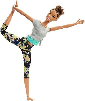 Barbie Made to Move Ultimate Posable Barbie Yoga Floral Pants Brown Hair 2018