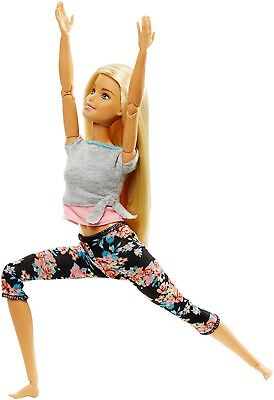 Barbie Made to Move Ultimate Posable Barbie Yoga Floral Pants Blonde Hair 2018