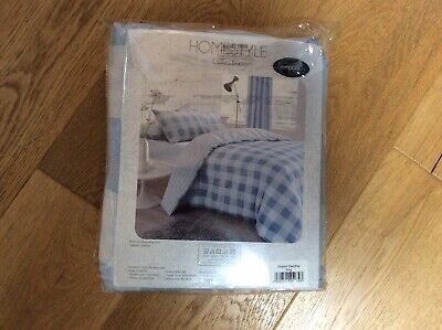 Bnip Homestyle King Size Blue Gingham Duvet Cover/2 Pcases