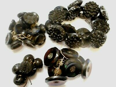 4 SETS of ANTIQUE Victorian JET Black GLASS Clothing BUTTONS