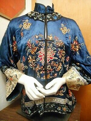 FINEST Antique Hand EMBROIDERED Chinese ROBE JACKET Blue Ground BATS & FISH
