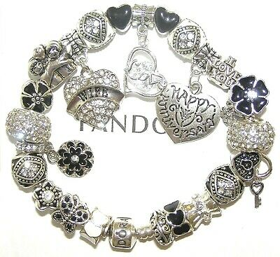 Authentic Pandora Bracelet With WIFE ANNIVERSARY, LOVE STORY European Charms NEW