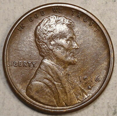 1916-S Lincoln Cent, Almost Uncirculated, Original & Problem Free  0503-08