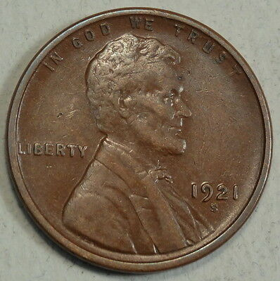 1921-S Lincoln Cent, Extremely Fine, Key Date, Well Struck  1128-25