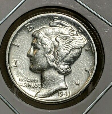 1941-D Mercury Dime (AU) Almost Uncirculated 90% Silver United States Mint Coin