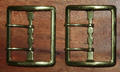 "Vintage Rare 1980's Dead Stock WATERBURY 2"" Brass Belt Buckle - 2 pcs - USA Made"
