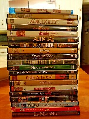 Broadway Musicals DVD collection - Lot of 20 / 1 BLU RAY FREE SHIPPING