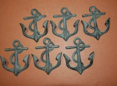 (6) Antiqued Bronze Look Cast Iron Anchor Wall Hooks, 5 3/4 inches, 6 pcs, BL-65