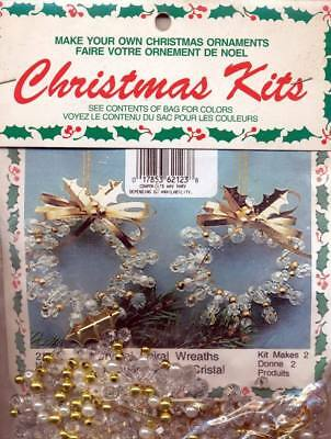 Crystal Spiral Wreath Bead Christmas Ornament KIT Makes 2 Quick Holiday Craft