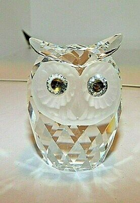 Signed Swarovski Crystal Large Owl Figurine Green Eyes W Box