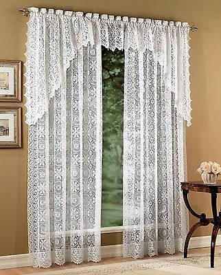 Hopewell Lace Heavy Curtains - White or Cream - Panels, Swags, Valances - NEW !