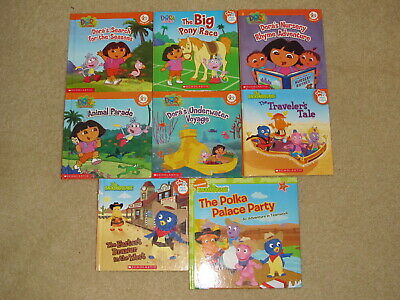 LOT OF 7 Hardcover Nick Jr. Books with Dora the Explorer, the Backyardigans